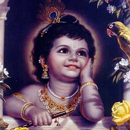 Krishna als Baby im heiligen Ort Vrindavan, Indien.