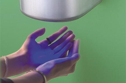Sèche-mains avec guide lumineux