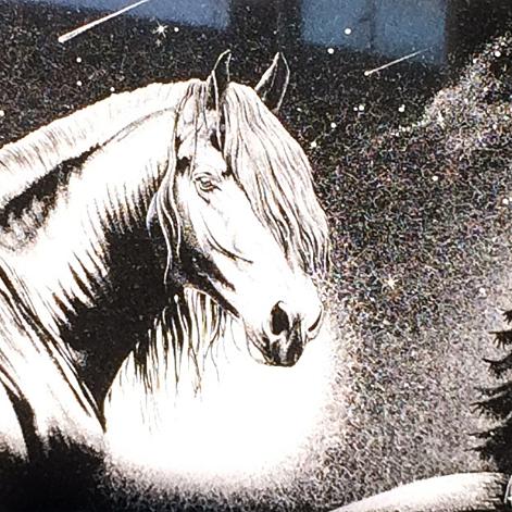 Pferderadierung aus Vulcano (poliert)