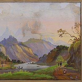 Gouache-Malerei auf Papier, vorher