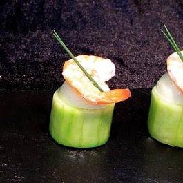 Crevette auf Gurkenmousse