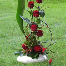 Arrangiamento rose rosse