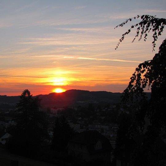 Restaurant Falkenburg, St. Gallen - Sonnenuntergang von der Falkenburg