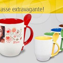 Mug avec cuillère, divers couleurs