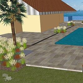 Image 3D Terrasse et piscine