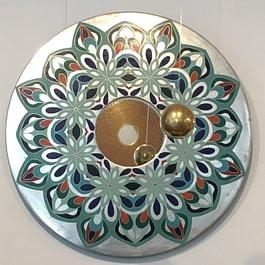 Mandala Spiegel Weissgold mit Radierung Rahmenatelier Maschera d`Oro