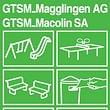 Spielplatzgeräte - Tischtennis-Tische, Bänke, Abfallbehälter, Absperrpfosten uvm