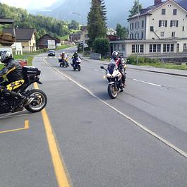Ankunft Motorradgruppe