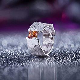 Ring, Weissgold, Mandarin-Granat