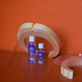 visière de protection, gel désinfectant, masque