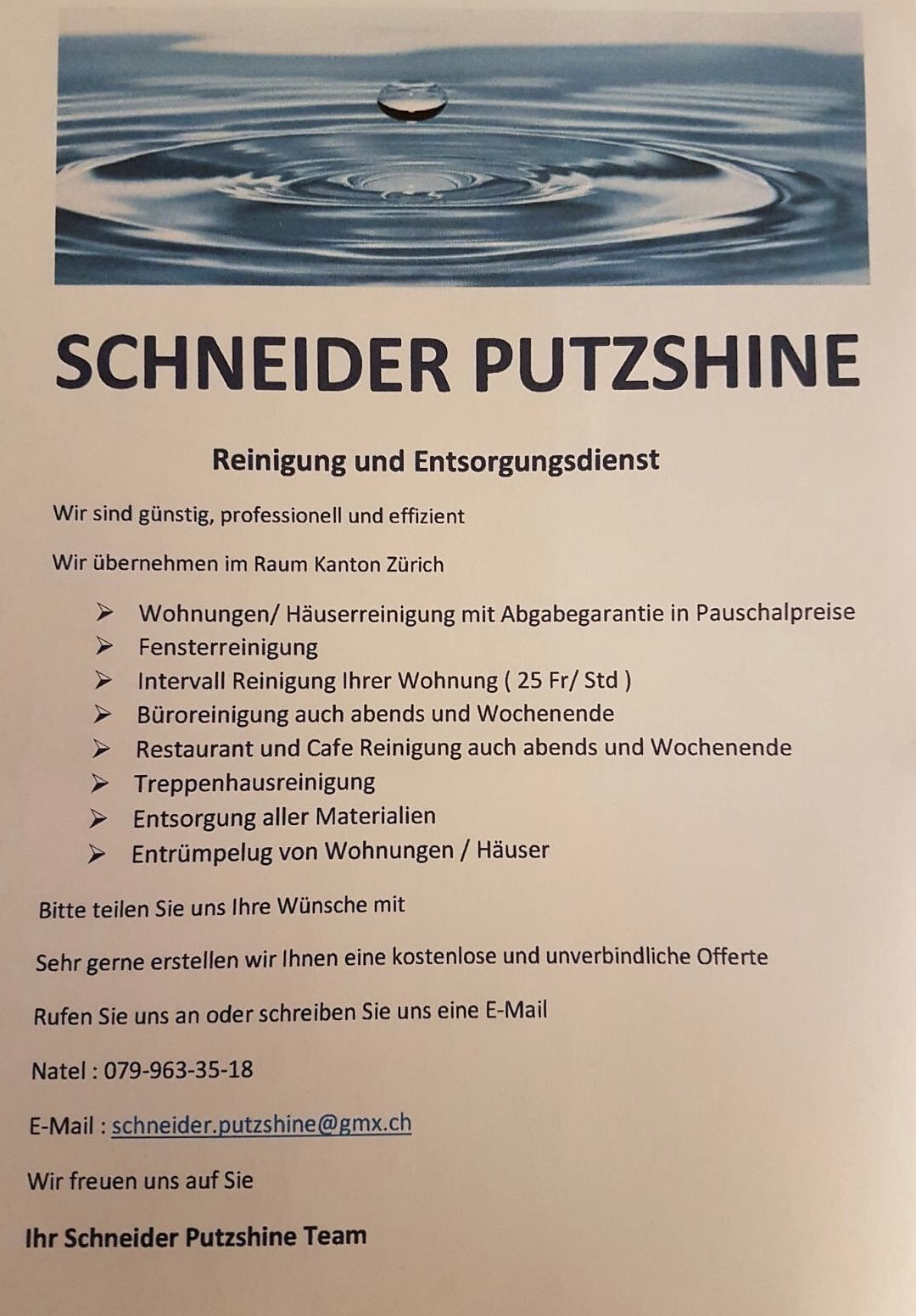 Schneider Putzshine In Uster Adresse öffnungszeiten Auf Localch