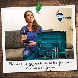 La gagnante de notre jeu concours, la panoplie perceuse all inclusive pour devenir apprentie chauffagiste à Genève