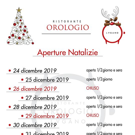 Aperture Natalizie 2019/20