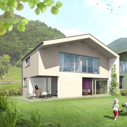 Contemporaine villa contiguë en construction à Ollon
