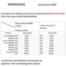 Impressions Photo / Canvas  et Tarifs 2020