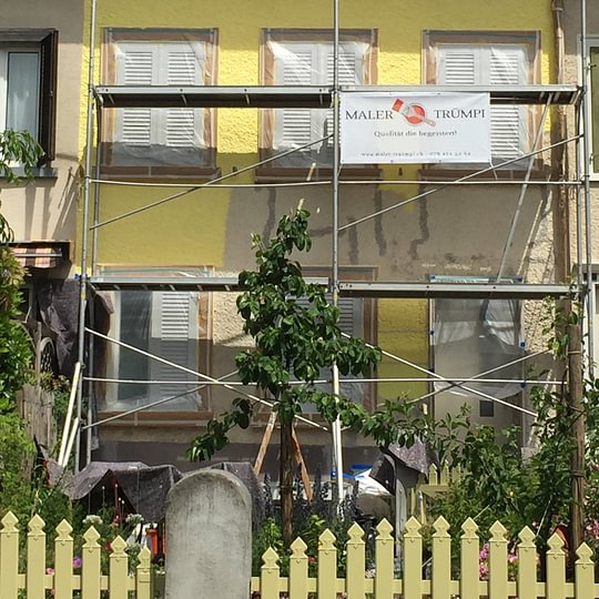 Fassade neu streichen. Risse ausschlämmen in Glarus.