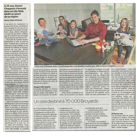 Revue de presse - Lancement officiel de sportbroye.ch