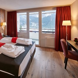 Jungfrau Suite Schlafzimmer Hotel Spinne Grindelwald