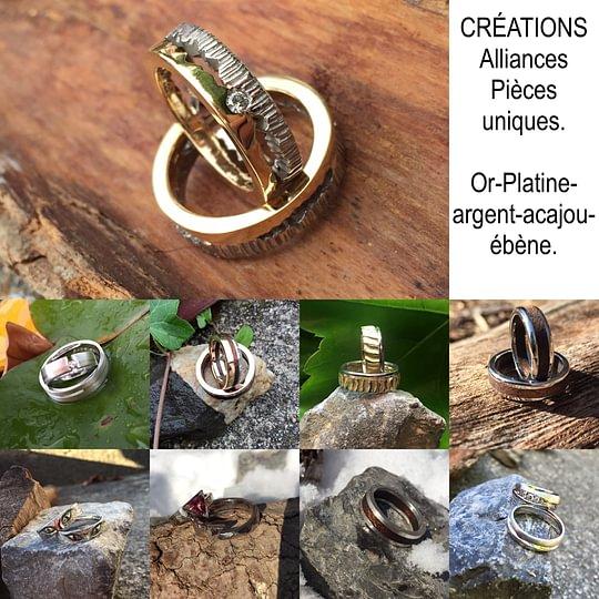 Horlogerie-Bijouterie Pierre-Alain Christen CREATION d'alliances or-bois-platine