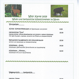 Wildkarte: Vorspeisen und Vegetarische Gerichte bis So. 1.12.2019