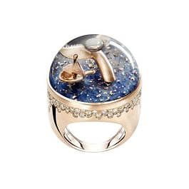 DREAMBOULE: Whale and boat ( sapphires, champagne diamonds, rose gold 18 kt)