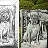 Hundeandenken aus Bardiglio (gehauen nach Foto)
