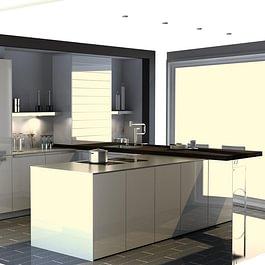 EDU-Ausstellungsküche: Moderne grifflose Küche in brillantweiss