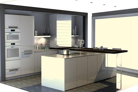Ausstellungsküche: Moderne grifflose Küche in brillantweiss