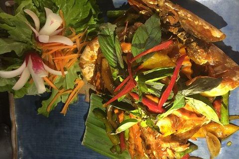Pâtes de riz sauté aux crevettes et piment