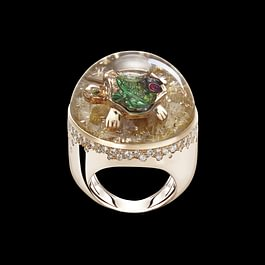 DREAMBOULE :Turtle Frog Ladybug ( champagne diamonds, rubies, tsavorite, rutilated quartz, rose gold 18 kt)