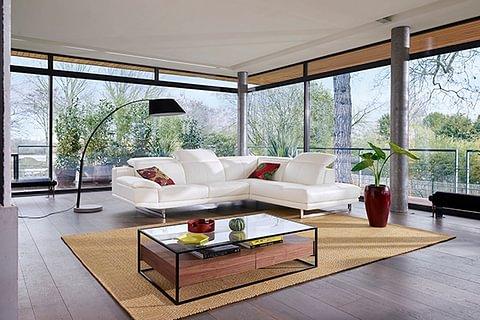 Rooftop, canapé d'angle 5 places en cuir de vachette
