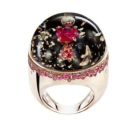 DREAMBOULE : Lighthouse (rubies,black onix, rose gold 18 kt)