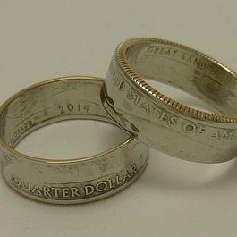 Ringe aus amerikanischen Quarter-Dollart Münzen