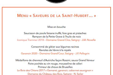 """Le Menu """" SAVEURS DE LA SAINT-HUBERT... """""""