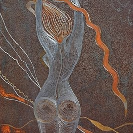 Tableau rouille femme en feu