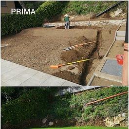 Posa bordure e ghiaia di drenaggio, preparazione terreno, posa impianto d'irrigazione e semina - Giardini ArteVerde Sagl