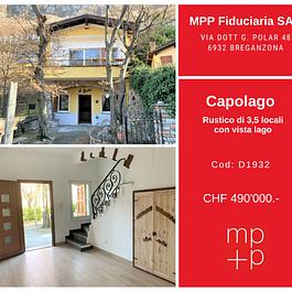 Capolago - Grazioso rustico 3,5 locali con vista lago in vendita - tranquillo, vacanza, real estate, grottino