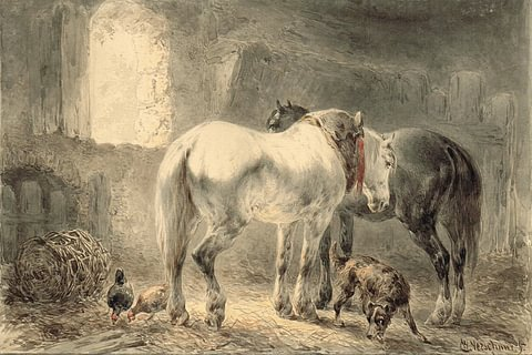 Horses in the Stables by Wouterus Verschuur
