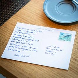 """Postkarten mit Handschrift """"Sophie"""" © Druckerei Robert Hürlimann"""