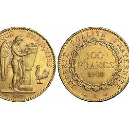 Francia - Terza Repubblica (1871-1940), 100 Franchi 1903 A, Genio alato, ORO (35 mm - 32.25 g.)
