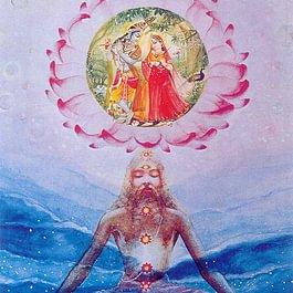 Bhakti-Yogi, der über Sri Sri Radha Krishna meditiert.