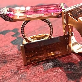 Melania Crocco : Rubellite and tourmaline rings in rose gold 18 kt
