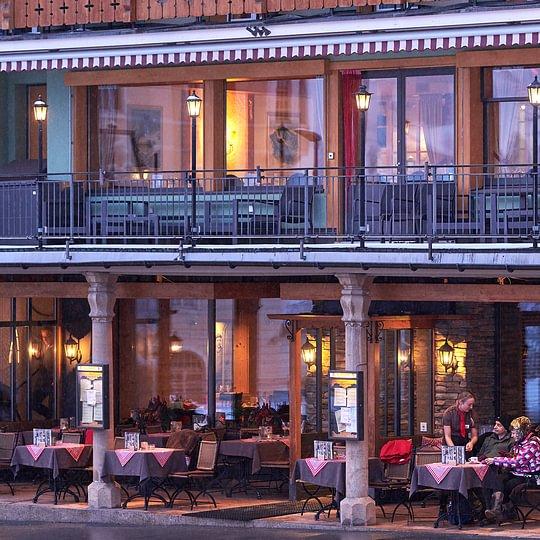 Beheizte Terrasse Restaurant, Central Hotel Wolter Grindelwald