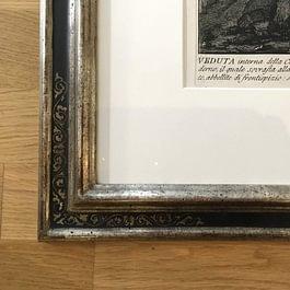 Detaillansicht Renaissancerahmen, Weissblattvergoldet mit Ornament