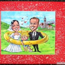 Live-Karikatur von Hochzeitspaar für Hochzeitsfeier Einladung und als Unterhaltung und Künstler