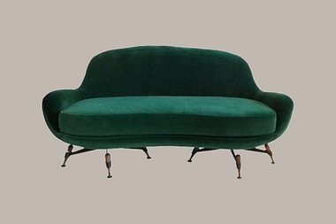 Green Velvet Sofa by IPE - 1963, Bologna, Italy