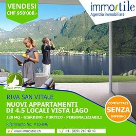 Vendesi nuovi appartamenti vista lago a Riva San Vitale