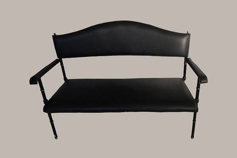 Jacques Adnet Black Leather Bench, France, 1950s