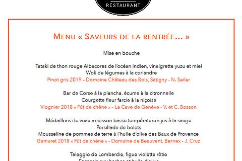 "Le Menu "" SAVEURS DE LA RENNTREE... """
