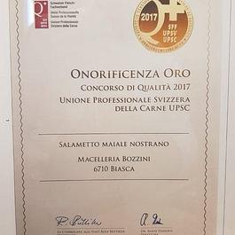Onorificenza Oro concorso qualità 2017